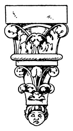 Romanesque Console is a 12th century design found in the Noyon cathedral in France, structural piece of stone, solid piece of material, vintage line drawing or engraving illustration.