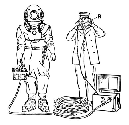 A communication system by which a diver and the surface can connect to each other, vintage line drawing or engraving illustration.