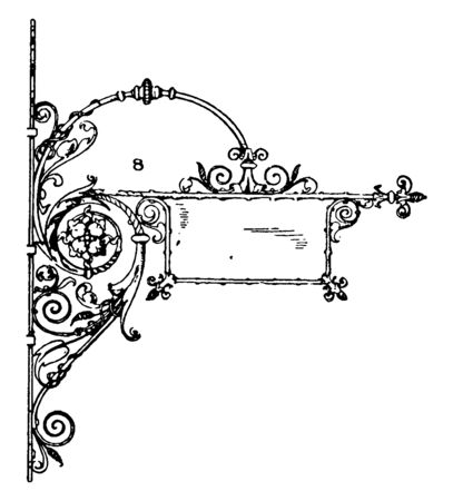 Wrought-Iron Bracket is a modern style sign iron Accents, including custom brackets, vintage line drawing or engraving illustration.
