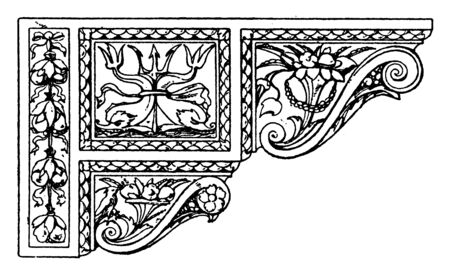 Renaissance Console is a Venetian design, combination of several smaller console, form a composite, vintage line drawing or engraving illustration.