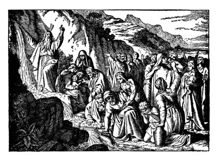 Moses stood in stream of water which flows from mountain; people collecting water in the jars and some them of drink it, vintage line drawing or engraving illustration.