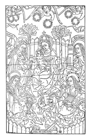 The Virgin with Four Saints in the Bibliotheque Royale de Belgique, vintage line drawing or engraving illustration.