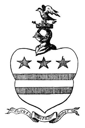Washington Arms in north-east England, vintage line drawing or engraving illustration. Çizim