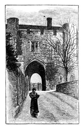 St. Albans Monastery Gate, england, chapel, Christian, great, gate, minster, parish, place, vintage line drawing or engraving illustration