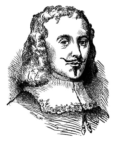 William Clayborne, c.1600-c. 1677, he was an English pioneer, surveyor, and secretary of state for the Virginia colony, vintage line drawing or engraving illustration