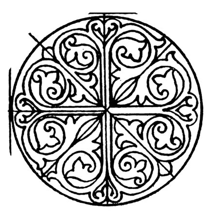 Romanesque Circular Panel is a design found on a 12th century manuscript, vintage line drawing or engraving illustration.