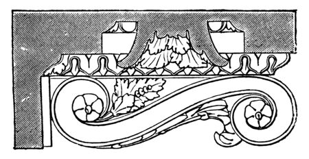 Mutule, Side View, Rectangular block under the soffit, the cornice of the Greek Doric temple, Roman Doric order the mutule, vintage line drawing or engraving illustration.