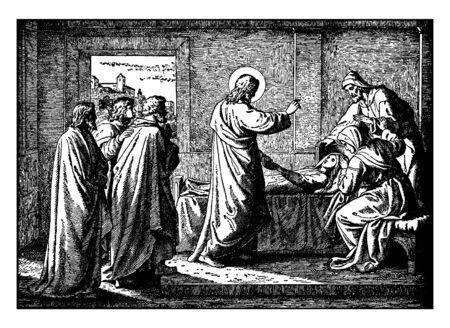 In questa immagine sono raffigurati Gesù e i suoi seguaci su una barca. Durante la tempesta nel mare, alcuni discepoli pregarono Gesù. Il resto sta cercando di impedire alla barca di affondare tra le onde, il disegno di linee vintage o l'illustrazione dell'incisione.