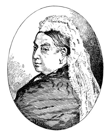 Queen Victoria, 1819-1901, she was the queen of the United Kingdom of Great Britain and Ireland from 1837 to 1901, vintage line drawing or engraving illustration