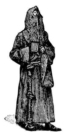 A man who covered his whole body with clothes and had a rope in his hands, vintage line drawing or engraving illustration.