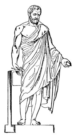Aristides, 530 BC-468 BC, he was an ancient Athenian statesman, famous for his general ship in the Persian war, vintage line drawing or engraving illustration