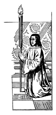 Jacques Coeur with fire torch and praying, he was a French merchant and one of the founders of the trade between France and Levant, Jacques Coeur being publicly punished in France in 1453,  vintage line drawing or engraving illustration