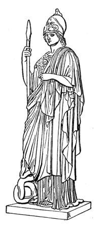 Statue of wisdom goddess Athena with spear, vintage line drawing or engraving illustration. Vector Illustration