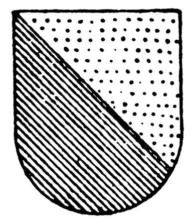 Per Bend Ordinary is in or and vert green colors, vintage line drawing or engraving illustration. Ilustração