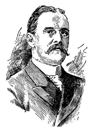Benjamin Ide Wheeler, 1854-1927, he was an American educator and professor at Brown University, vintage line drawing or engraving illustration