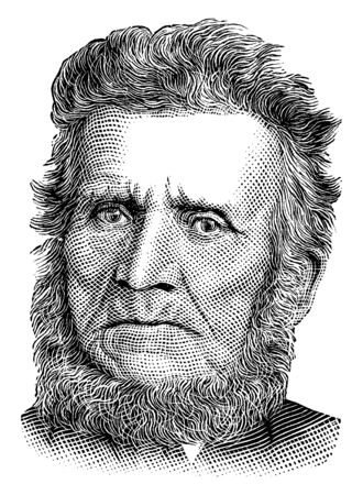 John Brown, 1800-1859, he was an American abolitionist, he led a raid on the federal armoury at Harpers Ferry to start a liberation movement in 1858, vintage line drawing or engraving illustration Standard-Bild - 133013571