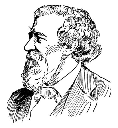 Robert Browning, 1812-1889, he was an English poet and playwright whose mastery of the dramatic monologue made him one of the foremost Victorian poets, vintage line drawing or engraving illustration Foto de archivo - 133013576