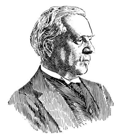 Herbert H. Asquith, 1852-1928, he was the Prime Minister of the United Kingdom from 1908 to 1916, vintage line drawing or engraving illustration Vectores