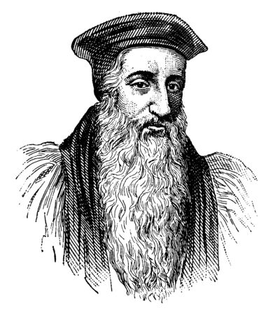 Archbishop Cranmer, 1489-1556, he was a leader of the English reformation and archbishop of Canterbury, vintage line drawing or engraving illustration 일러스트