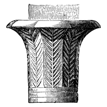Capital in the Temple at Edfu, immense variety, palm tree, smooth slender shaft, neck-moulding of several rings, vintage line drawing or engraving illustration.