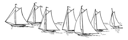 A sailboat is a boat which drive by sails. Sailboats are of different types. Illustration shows 7 sailboats in a water going in same direction, Vintage line drawing or engraving illustration. Ilustração