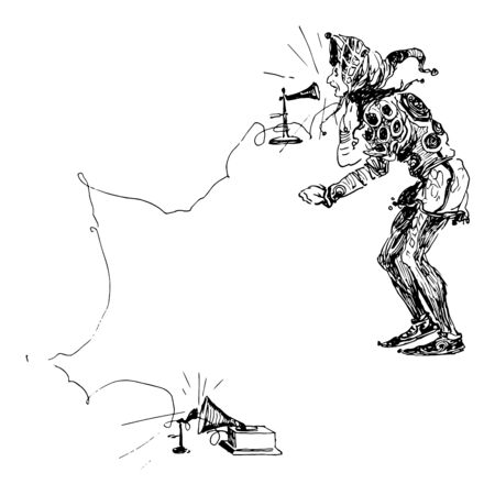 The picture of a joker talking on the phone, which is slightly leaning and speaking something on a phone connected to a long wire, vintage line drawing or engraving illustration.