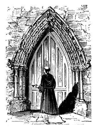 Decorated Doorway, The most significant, characteristic development, the Early English period,  pointed arch, used almost universally, vintage line drawing or engraving illustration.