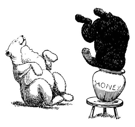 Bears 10, this picture shows two bears, black bear eating honey by putting head into honey jar which is kept on small table, white bear sitting, vintage line drawing or engraving illustration