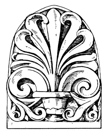 Roman Antefix found in the temple, imbrices, Italy, jupiter, stator, vintage line drawing or engraving illustration. Stock Illustratie