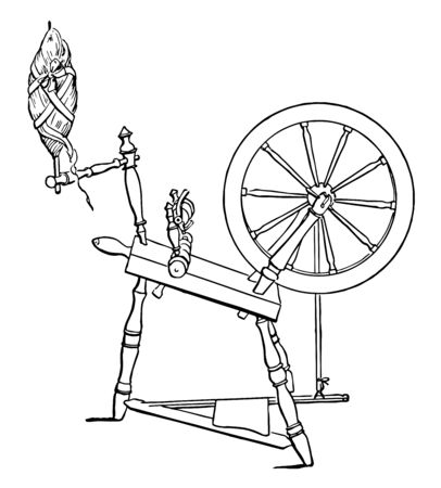 Diagram of a Spinning-wheel, It displaced the spinning wheel during the Industrial Revolution, Spinning wheels were first used in India, vintage line drawing or engraving illustration.