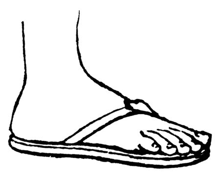 Greek Sandal is a worn in Ancient Greece, vintage line drawing or engraving illustration.