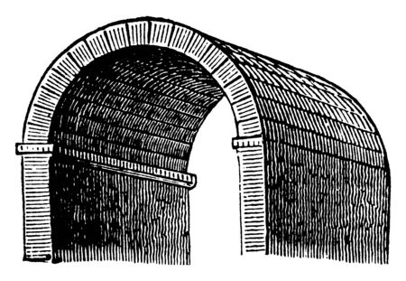 Barrel Vault is also called as a tunnel vault, Byzantine architecture, curved roof, rounded ceiling, tunnel, wagon, vintage line drawing or engraving illustration.