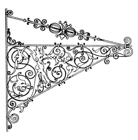 Wrought-Iron Bracket is a German Renaissance style sign, wide selection of designs and sizes, all in a natural iron finish, vintage line drawing or engraving illustration.