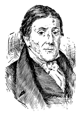 John Randolph, 1773-1833, he was a planter, and United States senator from Virginia, vintage line drawing or engraving illustration