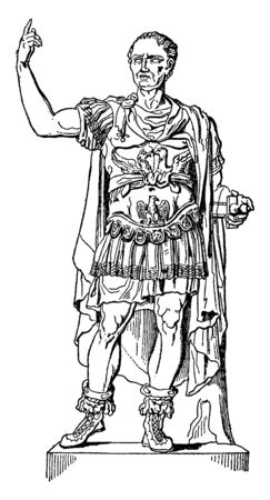 Julius Caesar, 100 BC-44 BC, he was a Roman politician and general, famous as author of Latin prose, vintage line drawing or engraving illustration
