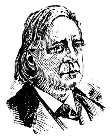 Henry Ward Beecher, 1813-1887, he was an American Congregationalist clergyman and social reformer, famous for his support of the abolition of slavery and his emphasis on God's love, vintage line drawing or engraving illustration