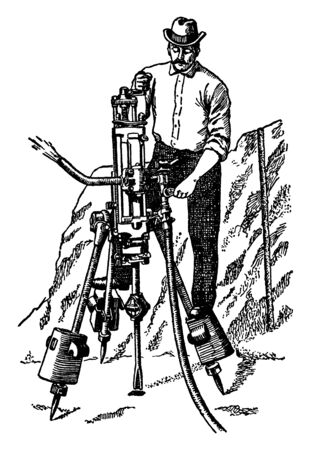 This illustration represents Pneumatic Rock Drill which is used to break up rock, vintage line drawing or engraving illustration. Ilustração