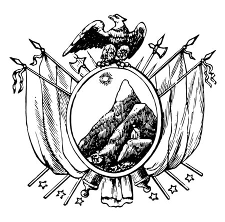 Coat of Arms, Bolivia, this seal has two flags with two crossed riffles on each side of oval shape, oval shape has mountains and sunrise, eagle on top of seal, vintage line drawing or engraving illustration