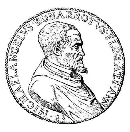 Michelangelo Coin, a round medallion bearing a profile portrait of Michelangelo, vintage line drawing or engraving illustration