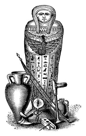 Mummy Coffin was typically wrapped in linen, vintage line drawing or engraving illustration. Ilustracja
