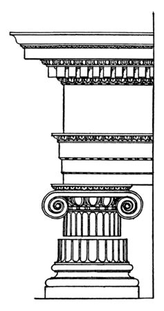 Roman Ionic Order,  column originated in the mid-6th century,  being practiced in mainland Greece,  temples was the Temple of Hera on Samos,  vintage line drawing or engraving illustration.