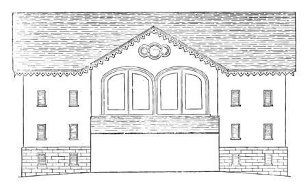 The Pennsylvanian barn, Locust Grive Farm, building the barn into a hillside, wooded highlands, vintage line drawing or engraving illustration. Illustration