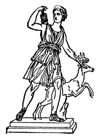 This is the statue of Diana was a goddess of the Romans. She was the daughter of Zeus and Leto, twin sister of Apollo, and the goddess of hunting and chastity, vintage line drawing or engraving illustration. Ilustração