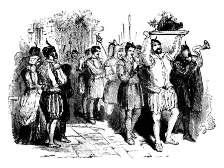 This is an image of a boar's head which is carried into a banquet hall accompanied by musicians. The boar's head festival we know today originated at Queen's Oxford England, vintage line drawing or engraving illustration.