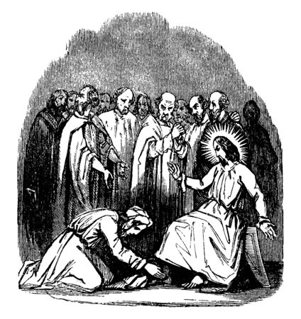 Illustration of Mary is anointing Jesus' feet with perfume. The disciples stand in the background, some looking irritated, vintage line drawing or engraving illustration.