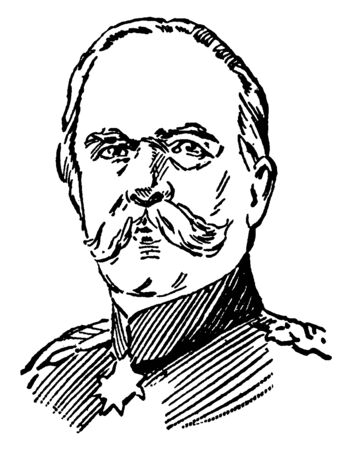George Leo Caprivi, 1831-1899, he was a German general, statesman and German chancellor from 1890 to 1894, vintage line drawing or engraving illustration