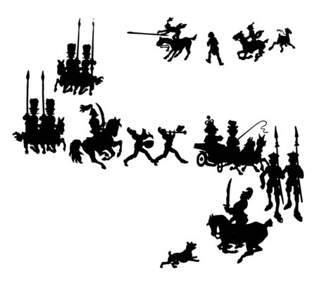 Silhouettes of grand procession, vintage line drawing or engraving illustration