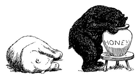 Bears 9, this picture shows white bear fallen on ground and black bear putting his head into honey jar, vintage line drawing or engraving illustration