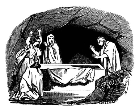 Peter found the tomb of Jesus empty, vintage line drawing or engraving illustration.