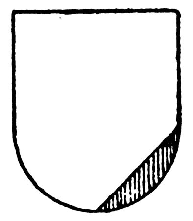 Argent Ordinary is in the sinister base a triangle gules, vintage line drawing or engraving illustration.